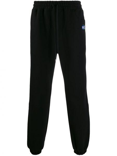 Czarne spodnie bawełniane z haftem Ader Error
