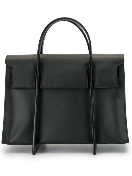 Кожаная черная сумка-тоут прямоугольная Discord Yohji Yamamoto