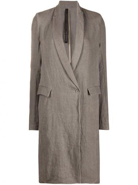 Серое однобортное пальто с воротником на пуговицах Poème Bohémien