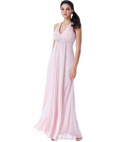 Розовое вечернее платье со стразами с драпировкой Goddiva