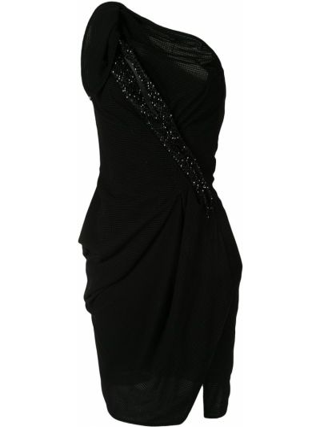 Czarna sukienka z falbanami z nylonu Maticevski