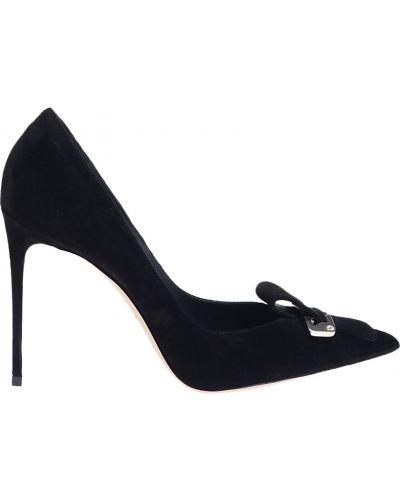 Замшевые туфли на каблуке кожаные Le Silla