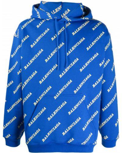 Bawełna niebieski bluza z kapturem z kapturem z długimi rękawami Balenciaga