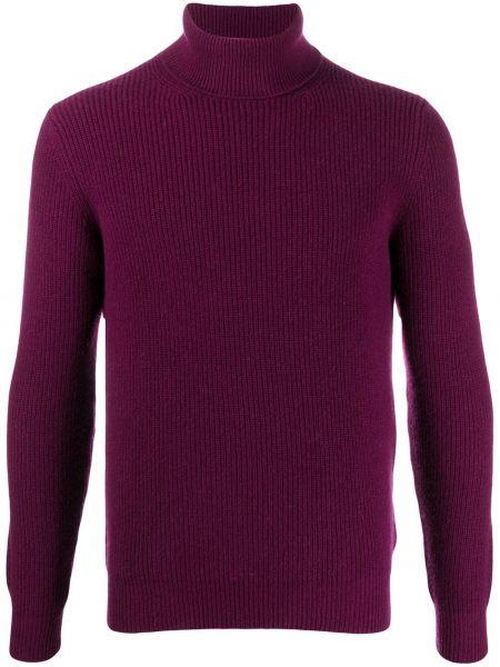 Fioletowy z kaszmiru sweter z długimi rękawami Lardini