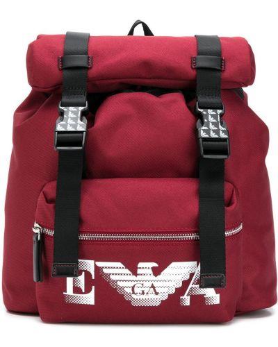 Czerwony plecak z printem Emporio Armani Kids