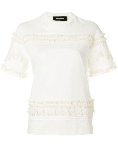 Белая футболка с оборками Dsquared2
