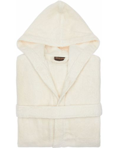 Beżowy szlafrok bawełniany z kapturem Roberto Cavalli