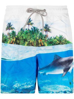 С кулиской белые шорты для плаванья с карманами Mc2 Saint Barth