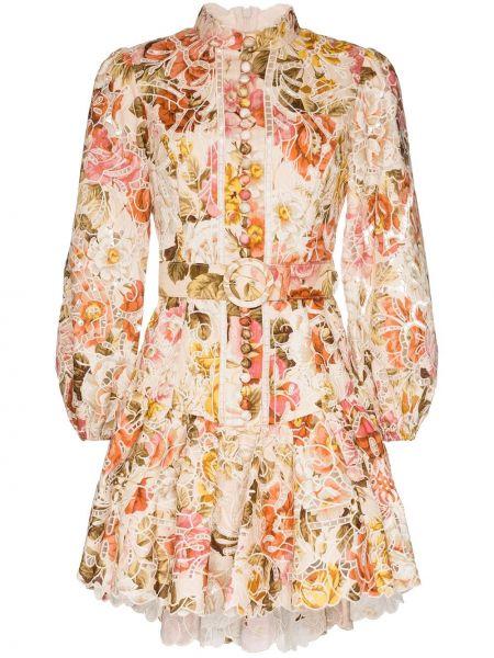 Платье с поясом с цветочным принтом с рукавами Zimmermann