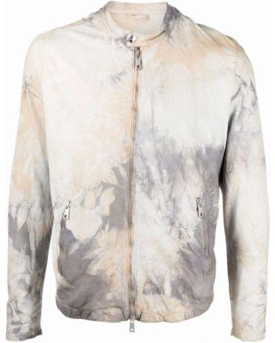 Biała długa kurtka skórzana z długimi rękawami Giorgio Brato