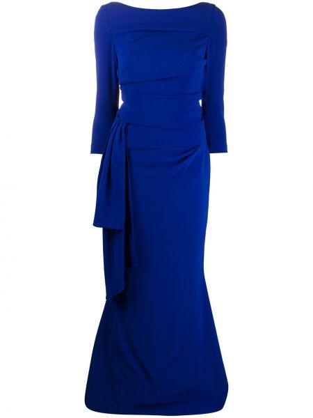 Синее платье с бантом с вырезом круглое Talbot Runhof