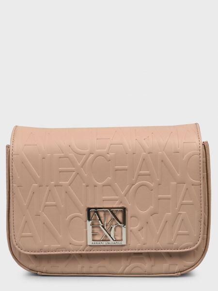 Кожаная сумка - бежевая Armani Exchange
