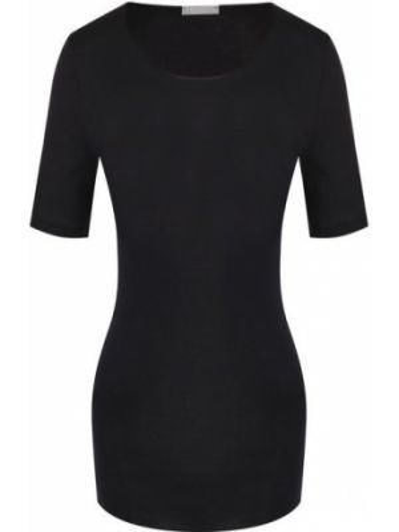 Футбольная приталенная черная футболка с круглым вырезом Hanro