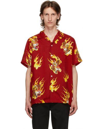 Черная рубашка с короткими рукавами с воротником с заплатками с карманами Wacko Maria