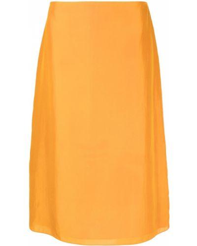 Оранжевая прямая юбка миди на молнии Nina Ricci