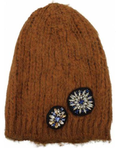 Brązowa czapka z akrylu Pinko