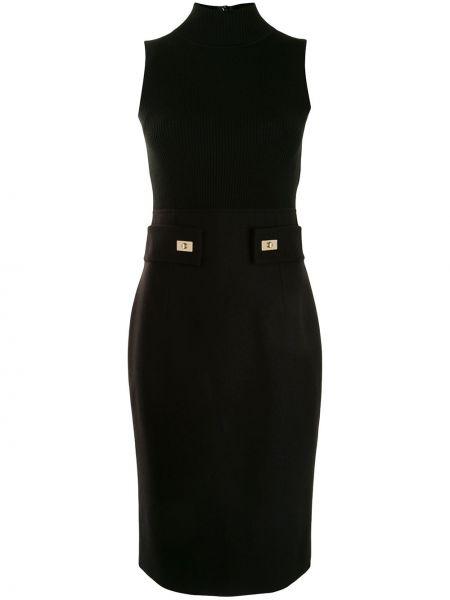 Черное платье миди с воротником без рукавов со шлицей Paule Ka