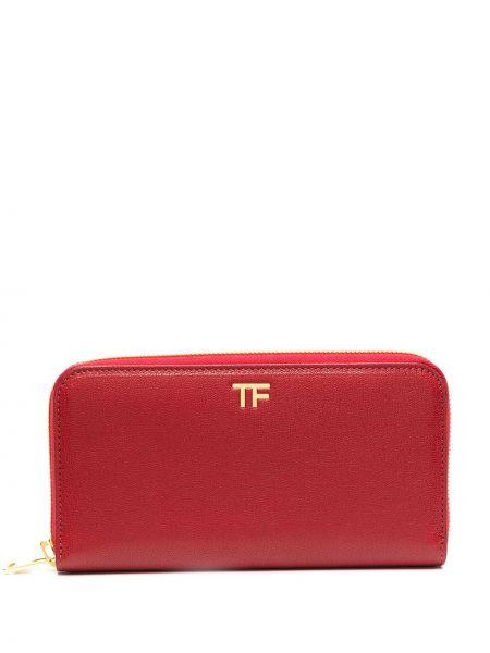 Красный кожаный кошелек на молнии Tom Ford