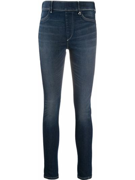 Хлопковые синие с завышенной талией джинсы-скинни True Religion