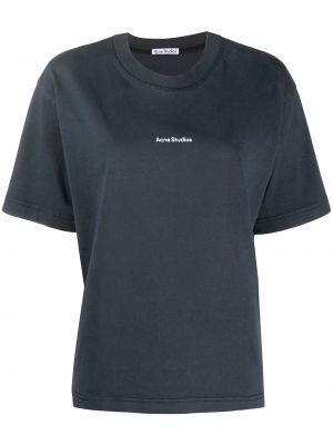 Прямая черная футболка с вырезом Acne Studios