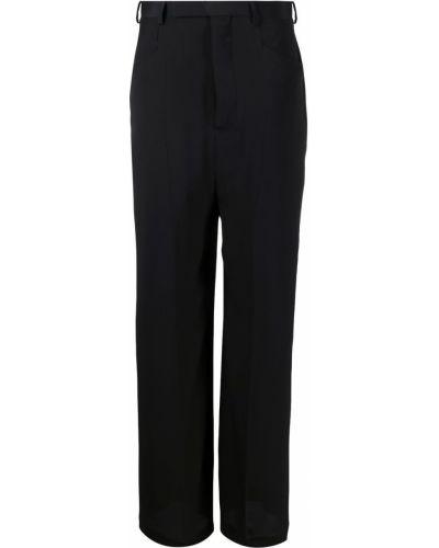 Czarne spodnie z paskiem z jedwabiu Rick Owens