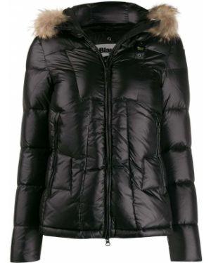 Прямая черная куртка с капюшоном из енота Blauer