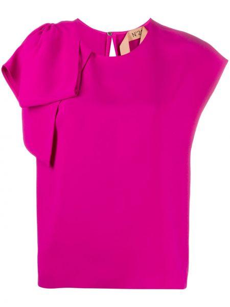 Розовая футболка с бантом из вискозы с круглым вырезом N21