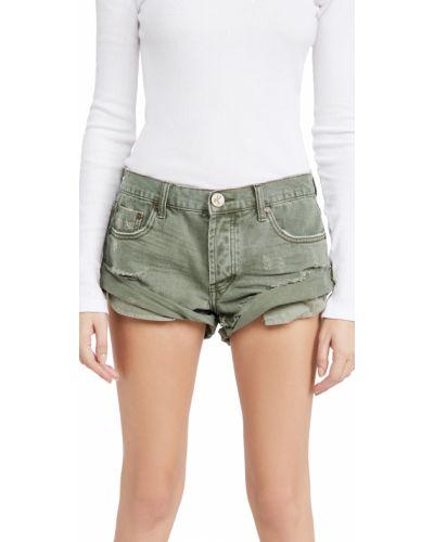 Хлопковые джинсовые шорты с карманами хаки One Teaspoon
