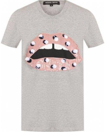 Серая футболка с пайетками Markus Lupfer
