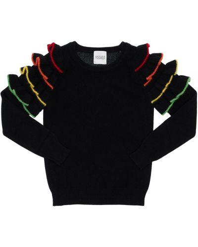 Трикотажная свитер с вырезом с оборками Madeleine Thompson