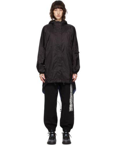 Нейлоновое черное длинное пальто с капюшоном Mcq