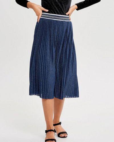 Плиссированная юбка синяя Only