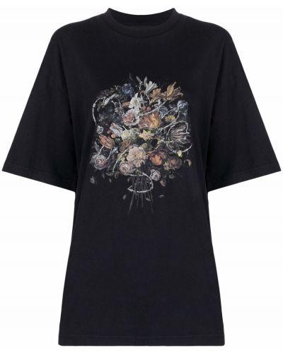 Czarna T-shirt z nadrukiem z printem Han Kjobenhavn