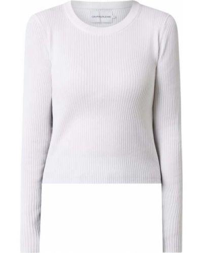 Prążkowana biała bluzka bawełniana Calvin Klein Jeans