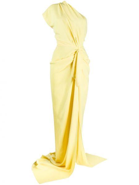 Желтое приталенное платье на одно плечо со складками Rhea Costa