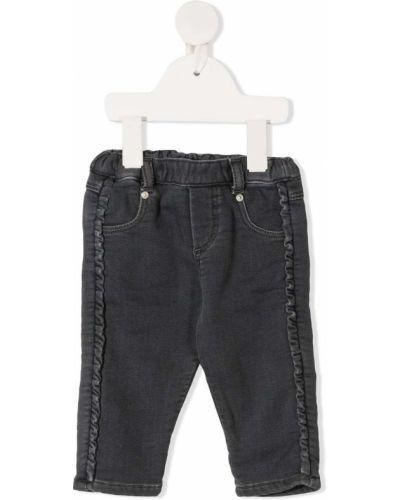 Прямые темно-серые прямые джинсы стрейч с заплатками Tartine Et Chocolat