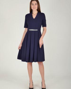Платье с поясом с V-образным вырезом со складками Viserdi