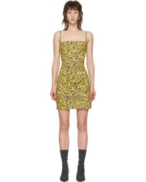 Хлопковое желтое платье на бретелях стрейч Miaou
