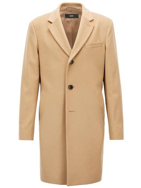 Бежевое кашемировое пальто Hugo Boss