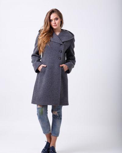 Серое пальто с капюшоном двубортное Sergio Cotti