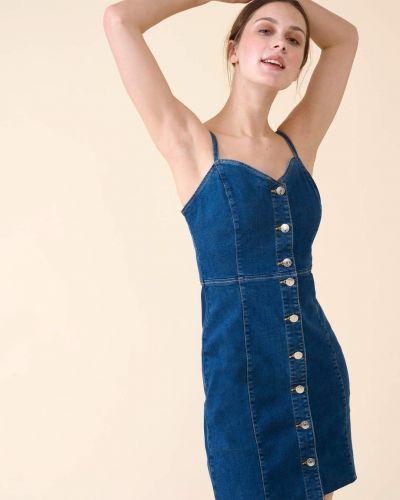 Niebieska sukienka jeansowa bawełniana zapinane na guziki Orsay