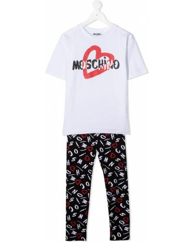 Czarny garnitur krótki rękaw bawełniany Moschino Kids