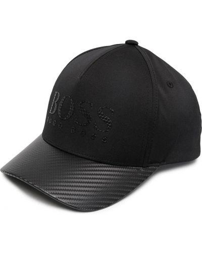 Z paskiem czarny czapka z daszkiem z ozdobnym wykończeniem Boss