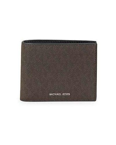 Коричневый кожаный кошелек с подкладкой Michael Kors