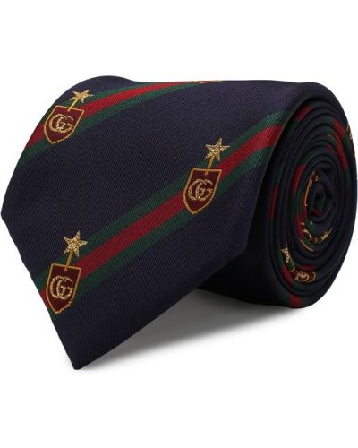 Синий галстук Gucci
