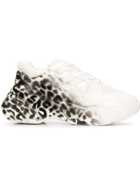 Skórzane sneakersy różowy czarny i biały Pinko