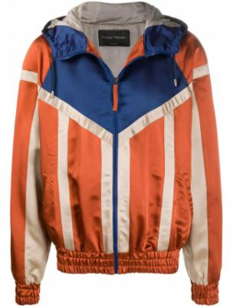 С рукавами оранжевая куртка с капюшоном на молнии с карманами Christian Pellizzari