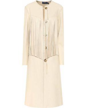Бежевое кожаное пальто Polo Ralph Lauren