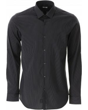 Czarna koszula bawełniana w paski Caliban