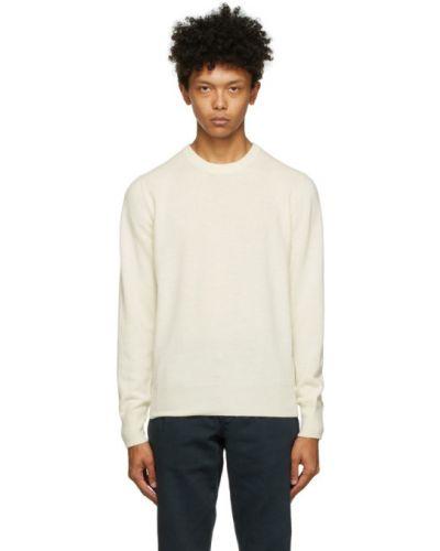 Шерстяной белый свитер с воротником с манжетами Doppiaa